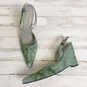 Prada   Green Tie Dye Point Toe Sling Back Heel 6
